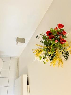 ミモザと赤い花